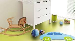 bright green vinyl floor in a playroom