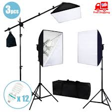 photo studio photography softbox light stand continuous lighting kit 2400w