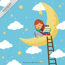 reading open book cartoon background of reading books on the moon vector