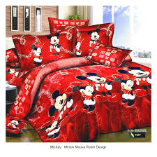 red mickey and minnie mouse king queen s cartoon bedding set cotton bed