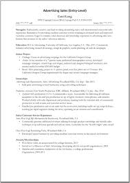 sales - Entry Level Advertising Resume