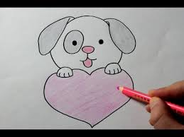 Small Picture How to draw a Puppy with Love Heart Easy YouTube