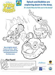 Splash And Bubbles Bioluminescence Coloring Page