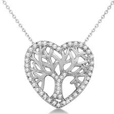 diamond heart family tree of life pendant necklace 14k white gold 0 05ct