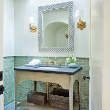 powder room wall tile designs. powder room with skylight and green wall tiles tile designs g