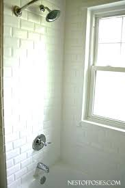 faux subway tile adding a shower head to bathtub with surround panels metroliner white wall panel faux tile