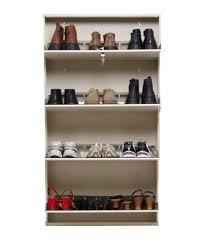 prab white natural finish space saving wall mounted shoe wooden shoe racks idea