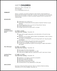 Free Professional Fashion Assistant Buyer Resume Template Resumenow