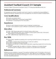 Assistant Football Coach CV Sample MyperfectCV