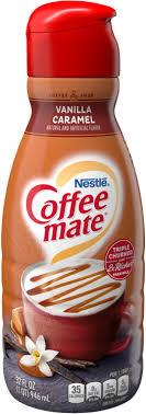 Water, corn syrup, soybean & cottonseed oil, high fructose corn syrup, sodium caseinate (a milk derivative), dipotassium. Vanilla Caramel Coffee Creamer Liquid Coffee Mate