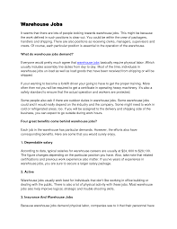 Sample Cover Letter Warehouse Worker Guamreview Com