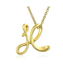 bling jewelry women s fashion jewelry yellow letter x script initial pendant gold plated necklace 18 inches