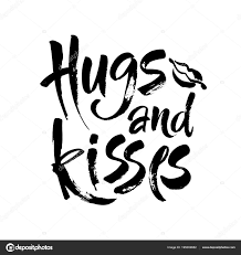 Calligraphy Background Design Hugs And Kisses Hand Drawn Creative Calligraphy And Brush