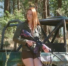 Naked woman gun painting