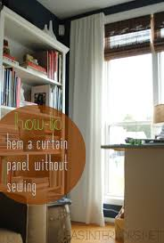Diy Curtain Wall Diy How To Hem No Sew And Add Stripes To Curtains Using Paint