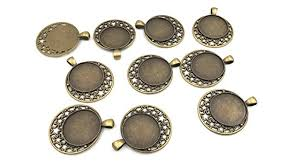 pack of 10 round picture frame charm pendants trays 25mm with moon and stars design diy