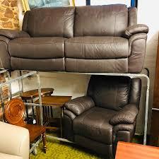 chocolate coloured leather sofa armchair