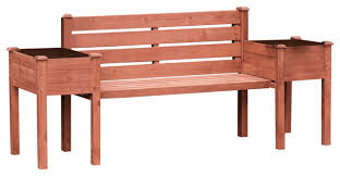 wood planter bench transitional outdoor benches by leisure season ltd