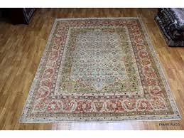 sold out handmade persian design soft wool rug 9 x 12 light green