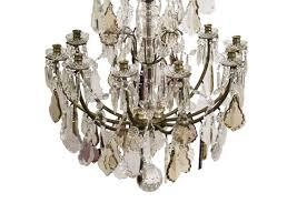 large antique french chandelier with crystal leaf prisms 3