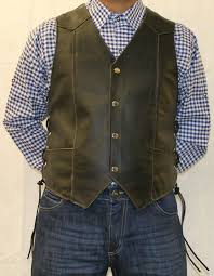 mens black leather waistcoat biker vest eagle embose sides laced up men