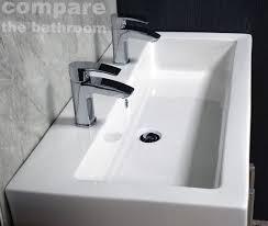 deep bathroom sink. Slab Basin Extra Deep Bathroom Sink 2 Tap Hole His \u0026 Hers Twin Long