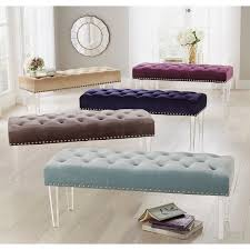 acrylic bedroom furniture. Shop Simple Living Leona Velvet Button Tufted Bench With Acrylic Legs - On  Sale Free Shipping Today Overstock.com 10175817 Acrylic Bedroom Furniture R