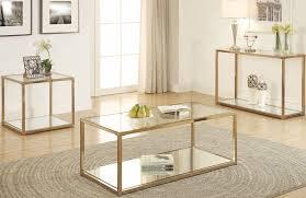 coaster calantha 3pc chocolate chrome coffee table set