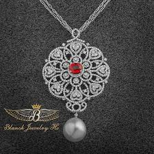 diamond red ruby pendant ref 01183 blanchejewelryhouse