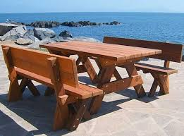 Fullback Wood Picnic Bench Custom Redwood Seating