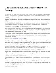 pitch document template the ultimate pitch deck to raise money for startups by plan9