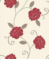 Red Flower Wallpaper New Cream With Silver Red Flower Wallpaper Ebay