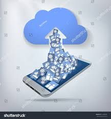 stock vector cloud photo upload concept with cloud backup of smartphone photos layered file for easy