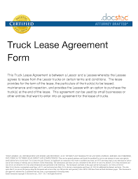 Commercial Truck Lease Agreement Best Photos of Sample Truck Lease Company Truck Lease Agreement 1