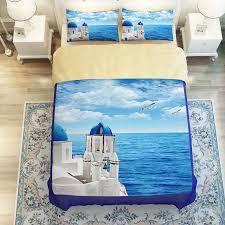 scenic ocean curtain set in blue printed bedding set
