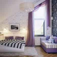 Purple Flower Wallpaper For Bedroom Pretty Girls Attic Bedroom Design With Lovely Purple Curtain And