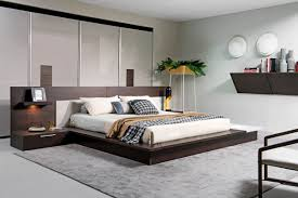 torino contemporary brown oak  grey platform bed w lights