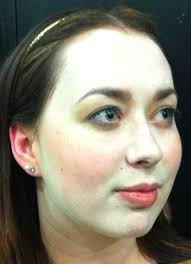 this is a model with this face whitener using lead white replacement plus the rouge below on lips and cheeks real lead white has a slightly yellowish