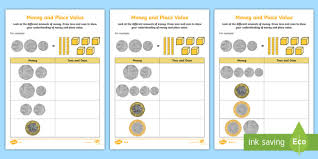 Coin Value Chart Elementary Money And Place Value Pound Sterling Worksheet Money