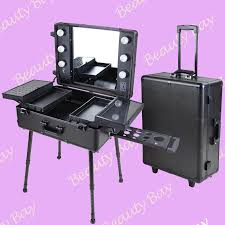 professional fashion aluminum makeup case with lights mirror trolley stand cosmetic studio and 4 legs in