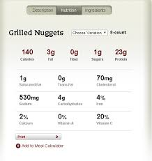 Chick Fil Nutrition Facts Chart