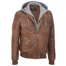 brown rivet faux leather hooded er jacket