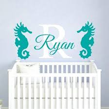baby nursery baby name stickers for nursery wall decal sea horse nautical baby name