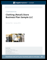 Retail Business Plan Outline Clothing Retail Store Business Plan Sample Legal Templates