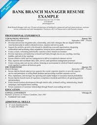 Sample Bank Manager Resume Branch Manager Resume Bank Branch