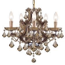 crystorama maria theresa 6 light golden teak crystal brass mini chandelier