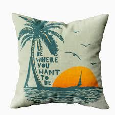 Beach Design Pillows Emmteey Beach Pillow Covers Couch Pillow Cover 18x18 Pillow Covers Home Throw Pillow Covers Beach Pillows Surf And Beach Vintage Print Graphic Design