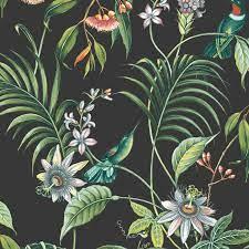 Graham & Brown Adilah Dark Floral Birds ...
