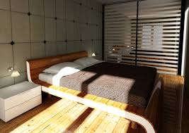 modern bed designs in wood. Minimalist Bedroom With Light Wood Flooring And Decorative Wall Modern Bed Designs In