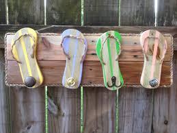 wood towel rack with hooks. Flip Flop Towel Holder, Outdoor Hooks, Bathroom Rack, Beach Bag Pool House Decor, Dog Leash Hat Robe Hooks By Wood Rack With